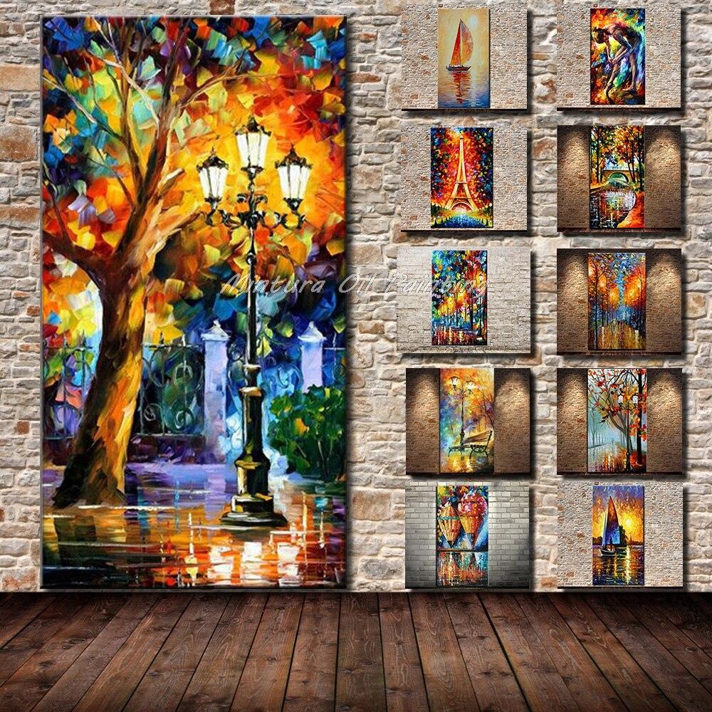 Arthyx Große Größe Hand Bemalt Palette Messer Straße Lampe & Baum Ölgemälde Auf Leinwand Abstrakte Moderne Home Decor bilder