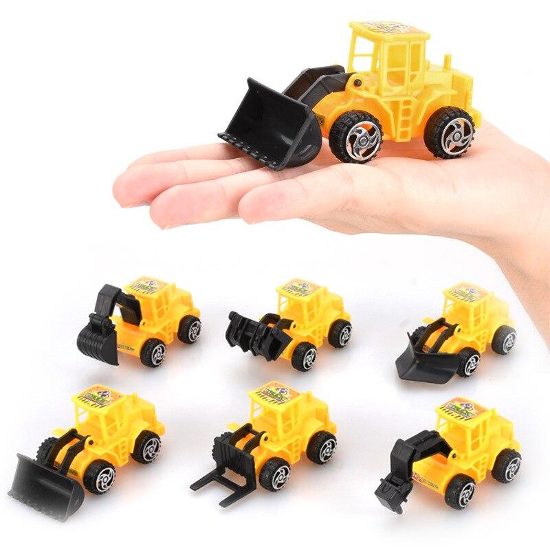 6Pcs/lot Mini Excavator Model Car Toys For Children Vehicle Sets Construction Bulldozer Engineering Vehicle Engineer Model Toys
