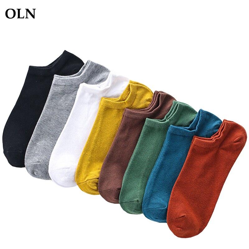 OLN 10 Pairs/ lot Men's Socks Short Solid Color Art Socks Low Male Thin Breathab
