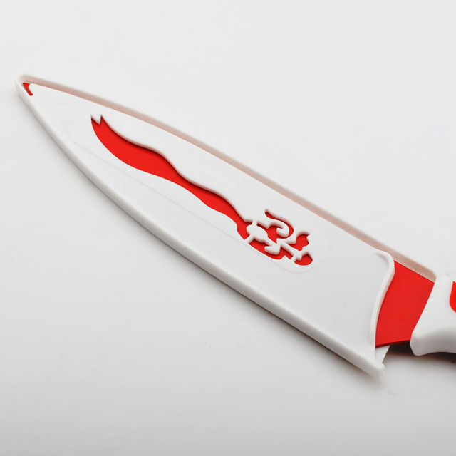 Silver and Red Design Stainless Steel Knife Set