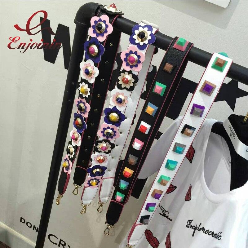 Fashion colorful rivet handbags belts women bags strap women bag accessory bags parts pu leather ladies