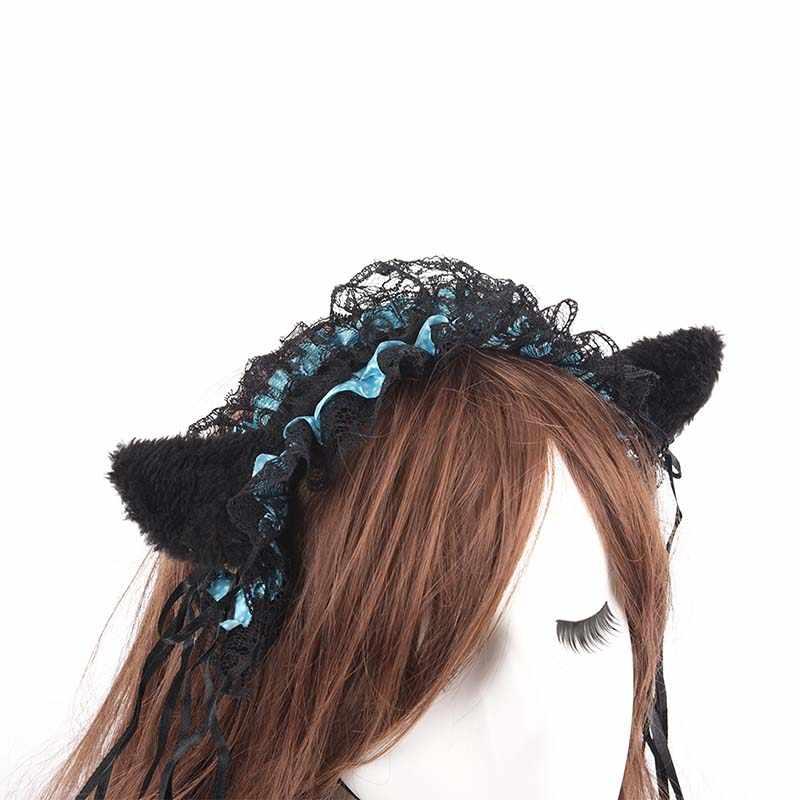 อะนิเมะแมวสาวคอสเพลย์แม่บ้านลูกไม้ Headbands เจ้าหญิงหวาน Lolita Hairbands แมวหู Headband ผม Hoop อุปกรณ์เสริมผม