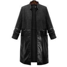 Plus Size Women Trench Coat Leather Women Patchwork Long Coat 2016 Autumn Winter Casual Fashion Ladies  Coats casaco vintage