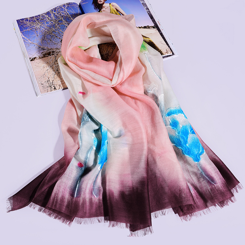 Women Silk Wool Scarf for Ladies Floral Embroidery Silk Scarves 2019 Luxury Brand Shawls and Wraps for Ladies Neckerchief