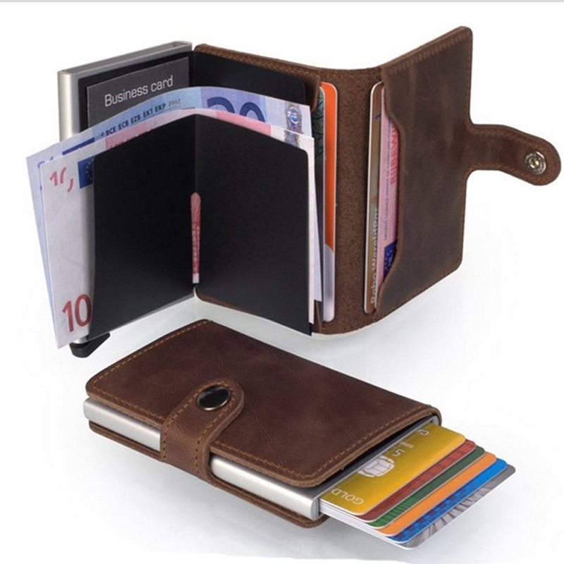 High Quality Genuine Leather Anti-theft RFID Blocking Aluminium Automatic Pop Up Card Case ID Credit Card Protector Card Holders brooklyn bridge pop up card 3d new york souvenir cards