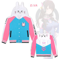 Game OW D.VA Hoodies DVA Cosplay Costume Jacket Autumn Baseball Cotton Thicken Coats Clothes Winter Hoodie Sweatshirts