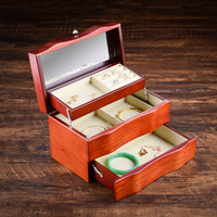 New Red Wood Jewelry Storage Box Solid Wood Multi function Earring Holder Necklace Jewelry Display Stand Women Jewelry Gift Box