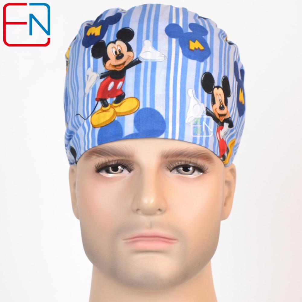 Hennar Men Medical Cap Hospital Doctor Cotton Surgical Caps Blue Print Adjustable High Quality Head Wear Face Mask For Men