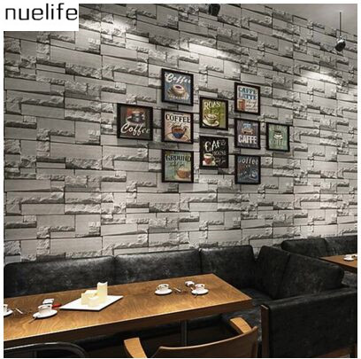 0.53x10m Hairdressing shop brick wallpaper hair salon 3d brick wall background wall bricks retro clothing barber shop wallpaper