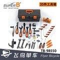 Super-b kit di riparazione della bicicletta TB-98550 35-pezzo cassetta degli attrezzi completo di manutenzione