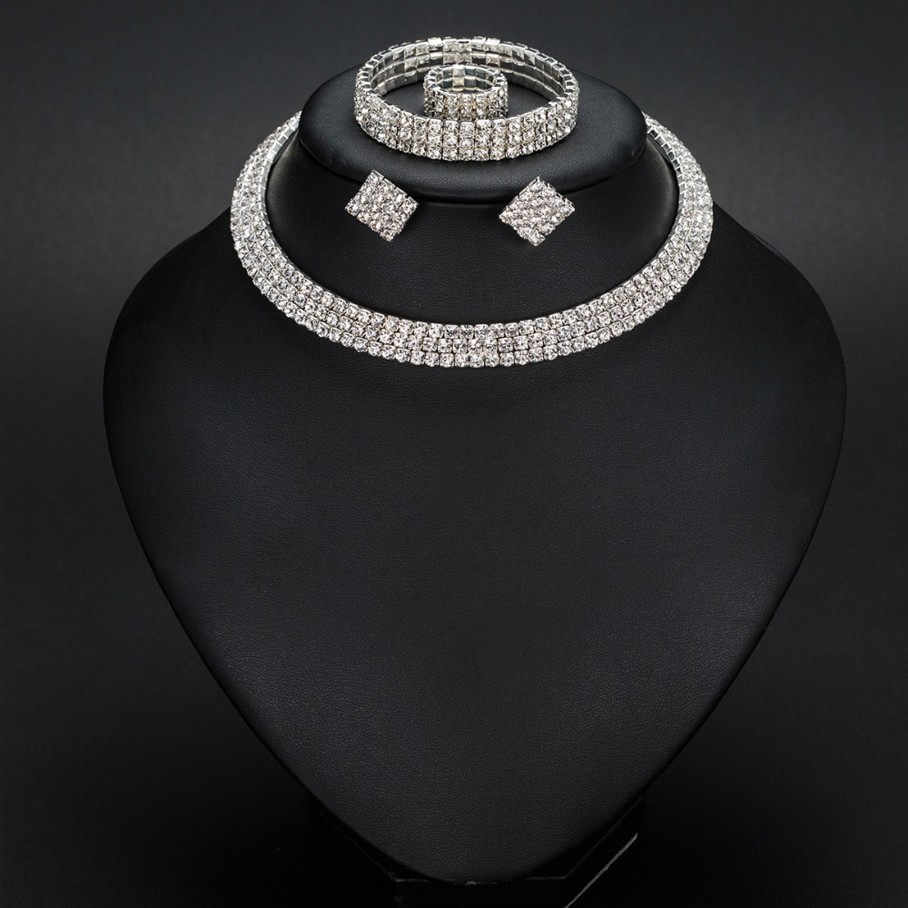 Silver Color Circle Crystal Bridal Jewelry Set 8