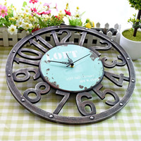 Antique Hollow Numbers Wall Clock Round Retro Clock Wall Stickers Wood Decoration Silent Creative Clock Modern