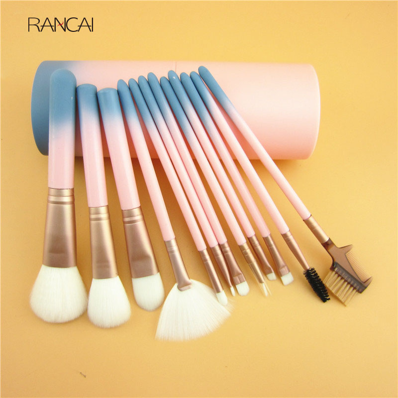 12pcs Makeup Brushes Set Pink Gradient Color Cosmetics Powder Contour Blush Eyebrow Brush Pincel Maquiagem with Cylinder Case pro 15pcs tz makeup brushes set powder foundation blush eyeshadow eyebrow face brush pincel maquiagem cosmetics kits with bag