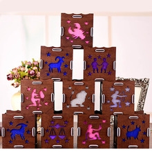 2017Funny New Creative Luminous 12 Constellations Creative Gift Music Box with LED Birthday Gift Home Decor Gags Practical Jokes
