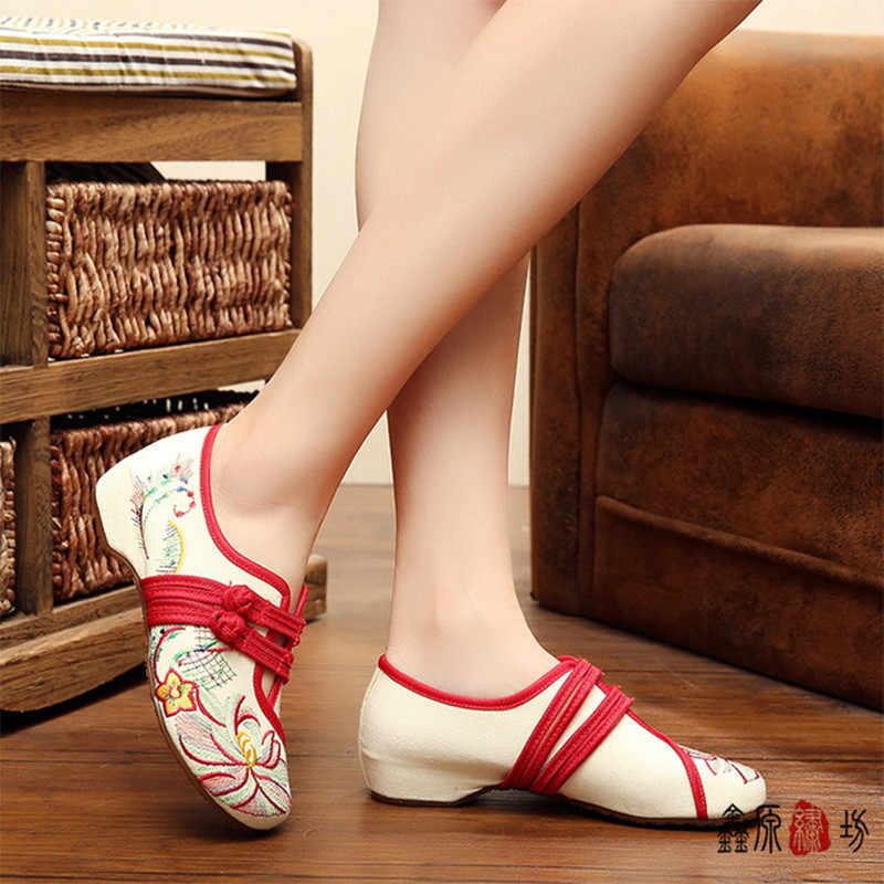 Ceyaneao Trung Quốc Mới Style2020 Thời Trang Xuân Hè Nữ Phẳng Cũ Bắc Kinh Sen Hoa Thêu Đế Mềm Thoải Mái