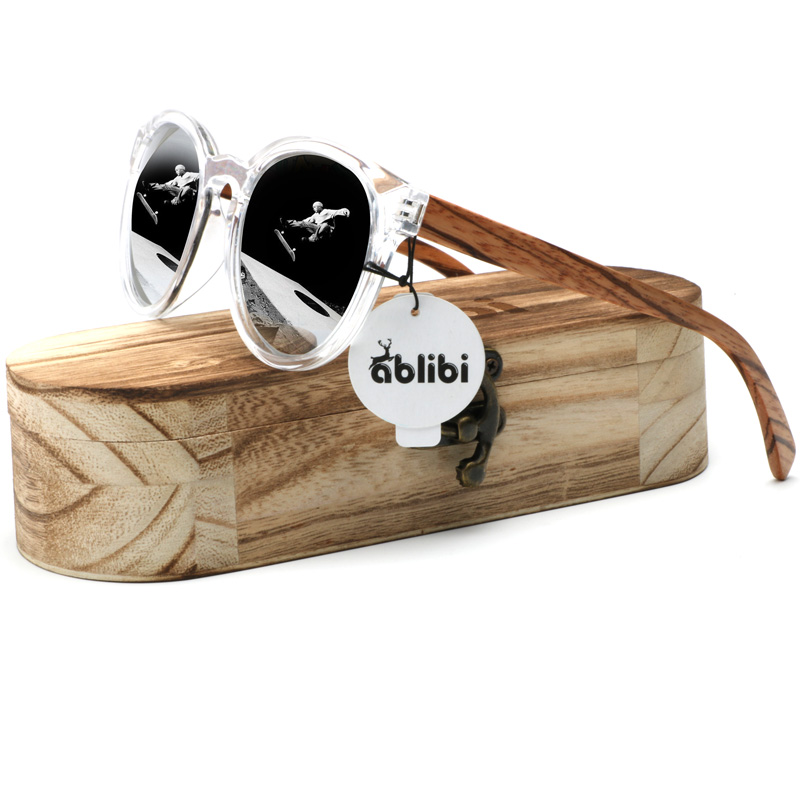 Ablibi Brand Design Vintage Round Mens Polarized Wood Sunglasses Women with 100% UV Blocking, HD Lenses Wood Shades