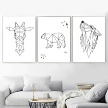 Geometry Wolf Bear Giraffe Nordic Poster And Prints Wall Art Canvas Painting Pictures For Living Room Bedroom Home Decor