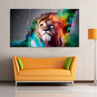100 Hand Painted Handicrafts Oil Painting On Canvas Wall Art Color Lion 3pc