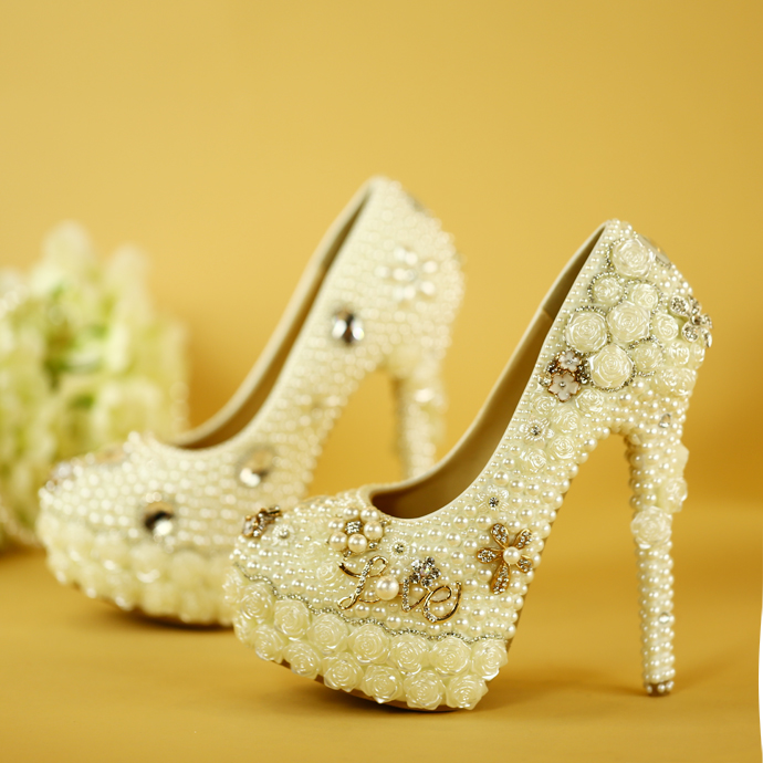 New Fashion Wedding Shoes White Pearl Lace Diamond Single Shoes Woman High Heels Platform Party Dresses Bride Shoes Pumps Ladies