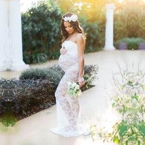 Image 3 - Vestido de encaje elástico fotografía de embarazada vestido de maternidad para sesión de fotos