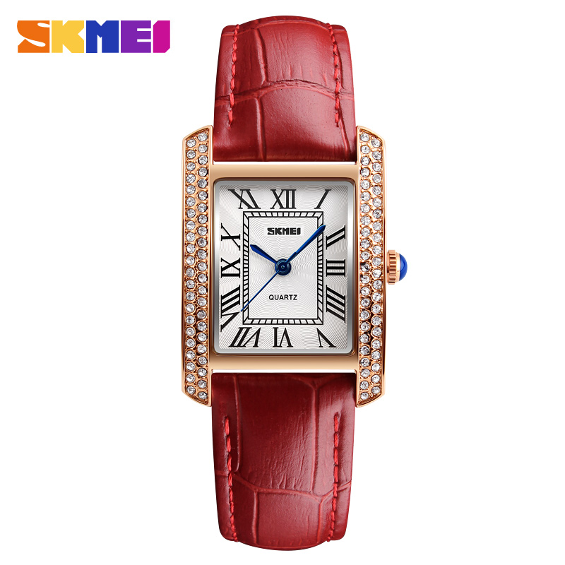 SKMEI Women Quartz Watch Leather Strap Retro Fashion Casual Ladies Watches Waterproof Female Wristwatches Relogio Feminino 1281 watches women fashion watch 2016 top belbi brand casual ladies alloy quartz watch round mirror waterproof womens wristwatches
