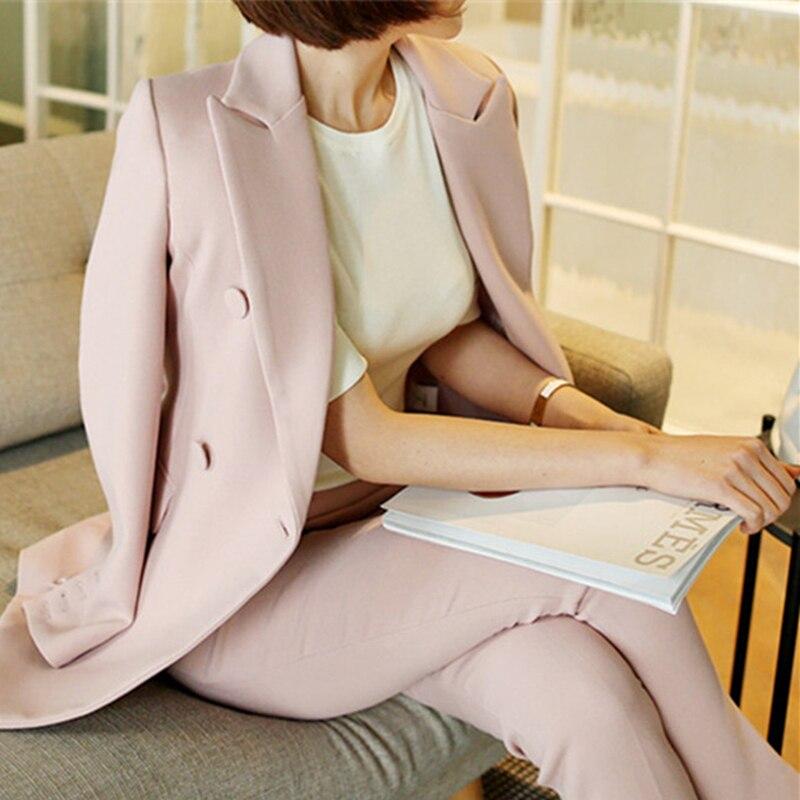 Women pant suits formal pink suit female 2019 new fashion office ladies business OL slim uniform two piece suit