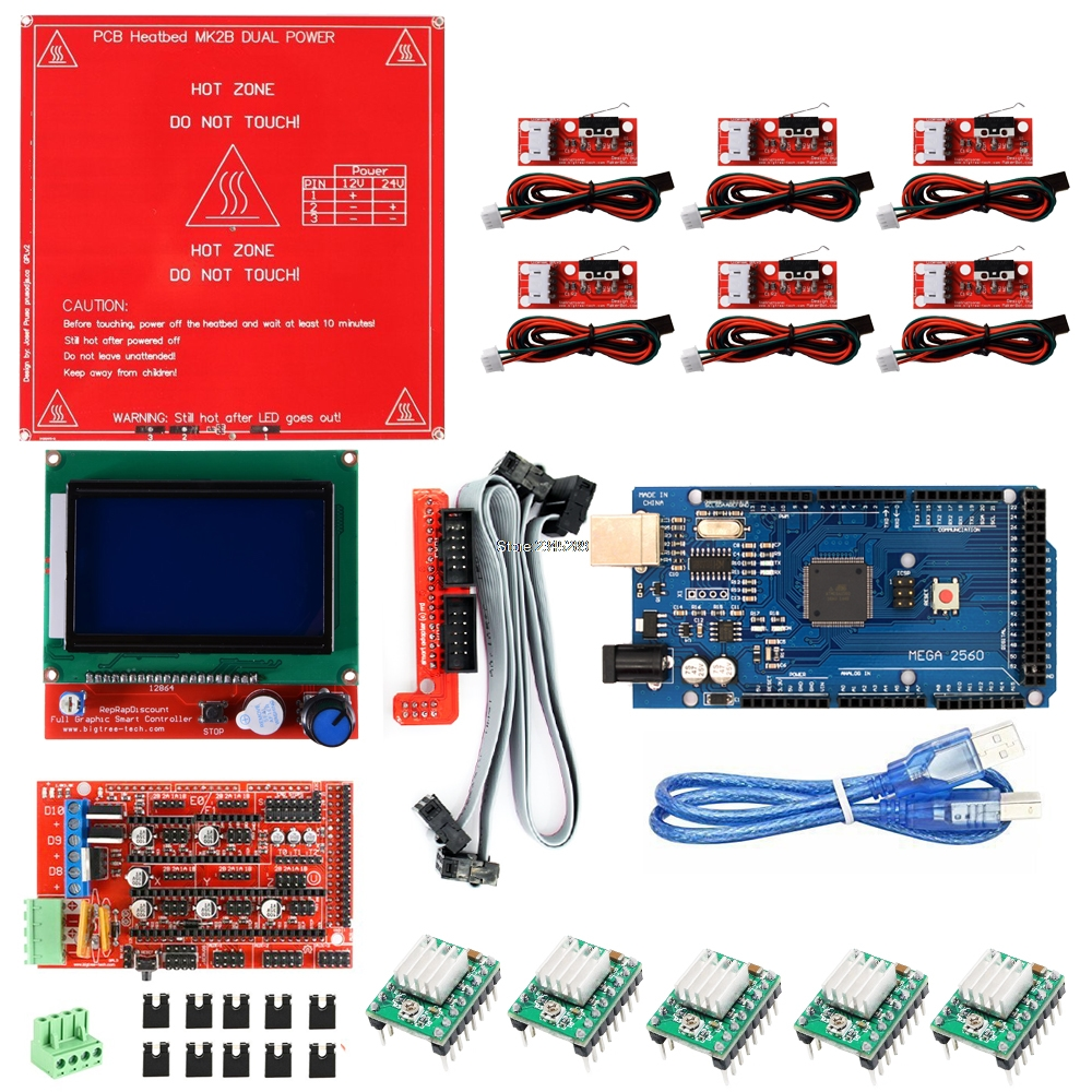 3D Printer Kit for Arduino Mega 2560 R3 + MK2B + RAMPS 1.4 Controller + LCD 12864 + 6x Limit Switch Endstop + 5x A4988 Driver