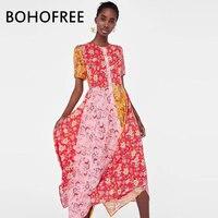 BOHOFREE Vintage Ethnic Floral Asymmetrical Vestidos Femme Gypsy Chic Short Sleeve Maxi Hippie Boho Dress Retro Dresses Women