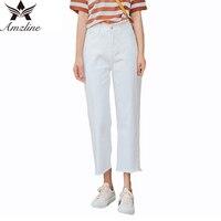 2017 ג 'ינס האופנה ג' ינס רגליים רחבות לבנים מזדמן Amzline בגדי ג 'ינס החבר ציצית טלאי מותניים גבוהים בתוספת גודל Feminino