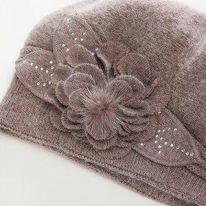 Image 4 - 2017 cappelli di inverno per le donne Berretti cappello con balaclava cappuccio delle Donne gorros cappelli di pelliccia di coniglio per lavorato a maglia delle donne beanie berretti