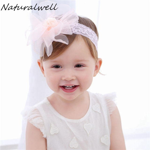 10de3bdb5b771 Naturalwell Baby white lace bandage Christening girl headbands Infant girls  headpiece Hairband for newborn Chiffon flower HB070