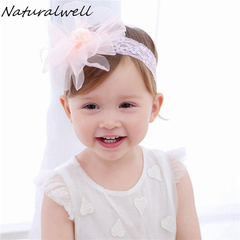 Us 104 21 Offnaturalwell Baby White Lace Bandage Taufe Mädchen Stirnbänder Mädchen Kopfschmuck Haarband Für Neugeborene Chiffon Blume Hb070 In
