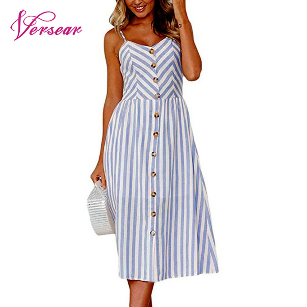 Versear Striped button sexy casual summer strap dress Long boho beach pockets women sundress vestidos Elegant daily dess female