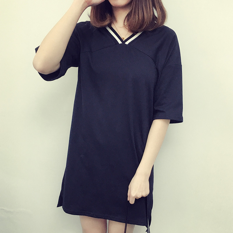 Casual Solid Color V Neck Sexy Women Straight Mini T Shirt Dress Top Tee Fashion Vestido Summer Style Beach Wear Preppy Desses