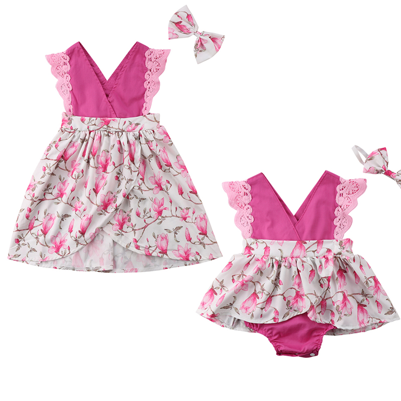 2018 Neue Schwester Spiel Kleidung Spitze Sleeveless Patchwork Floral Kleid Umsäumte Spielanzugoverall Stirnband 2 StÜcke Outfit Sunsuit