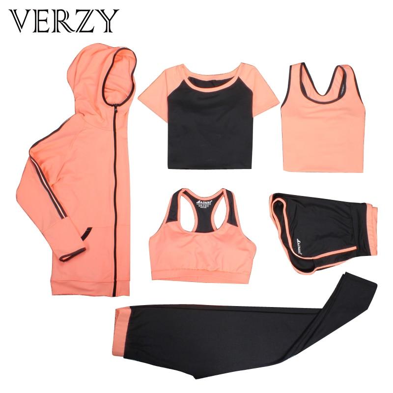 Conjunto de Yoga mujer Fitness correr ejercicio transpirable Rosa Sujetador deportivo + medias + corto + camisa + chaleco + chaqueta traje deportivo de talla grande de 6 piezas - 2