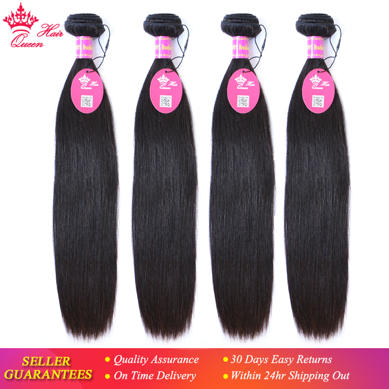 """Queen Hair Products Brazilian Virgin Straight Human Hair 100% Unprocessed 4pcs/lot 8"""" to 28"""" Natural Color Bundles Deal Hot Sale"""