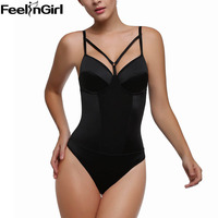 FeelinGirl Sexy Bodysuit Backless Thong Shaper Backless Straps Body Shaper Underwear Push Up Padded Shapewear Straps