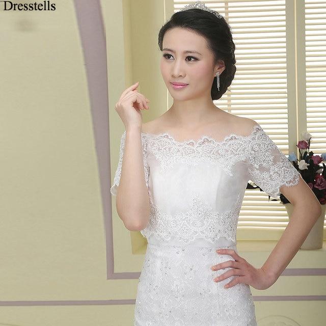 Dresstells White Lace Bridal Bolero Wedding Capes Short Sleeves ...