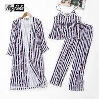 Summer Sexy Lip Prints Striped 3 Piece Pajamas Sets Women Pyjamas 100 Cotton Sleepwear For Women