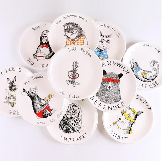 Free Shipping 8 inch Ceramic Dishes u0026 Plates Round Animal Printed In-glazed Decoration Character  sc 1 st  AliExpress.com & Free Shipping 8 inch Ceramic Dishes u0026 Plates Round Animal Printed In ...