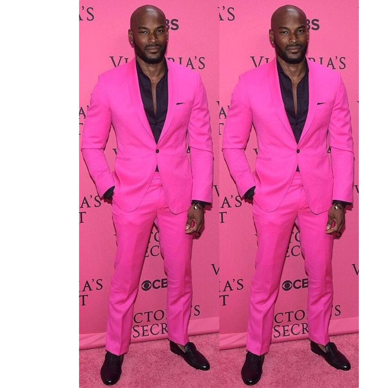 New Arrival Shawl Lapel Groom Tuxedos Hot Pink Men Wedding Suits ...