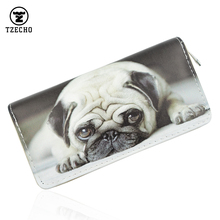 TZECHO Zipper Around Womens Wallets PU Leather Print Cartoon Dog Ladies Long Femal Purses Credit Card Holder Casual Clutch Bag