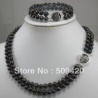 QR3111 Free Shipping>>> Set Jewellery Real 7 8 mm Black freshwater pearl Silver clasp Necklace bracelet