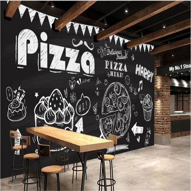 Beibehang Grose Eigene Tapeten Kreide Hand Gemalt Pizza Kuchen Hintergrund Dekoration Malerei Tapete Fur Wande