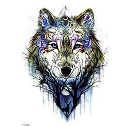 Волк Водонепроницаемый Временные татуировки Стикеры Tatuagem рукавом Татуировка салон Животные tatuajes хна поддельные татуировки Гарри стили