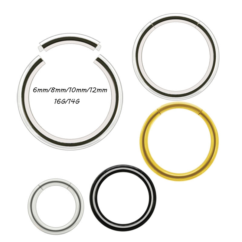 14G/16G segment ring piercing nose lip earrings 316L stainless steel 6mm 8mm 10mm 12mm silver gold black fashion body jewelry body jewelry