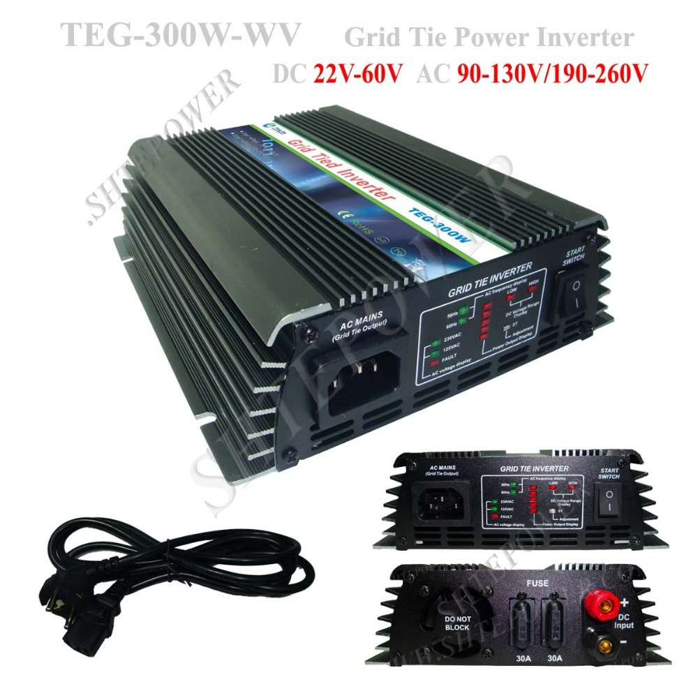 300W On Grid Tie Inverter DC 22V-60V Input , Solar Power Inverter solar power on grid inverter 500w dc 22v 60v ac 230v solar panel system grid tie inverter