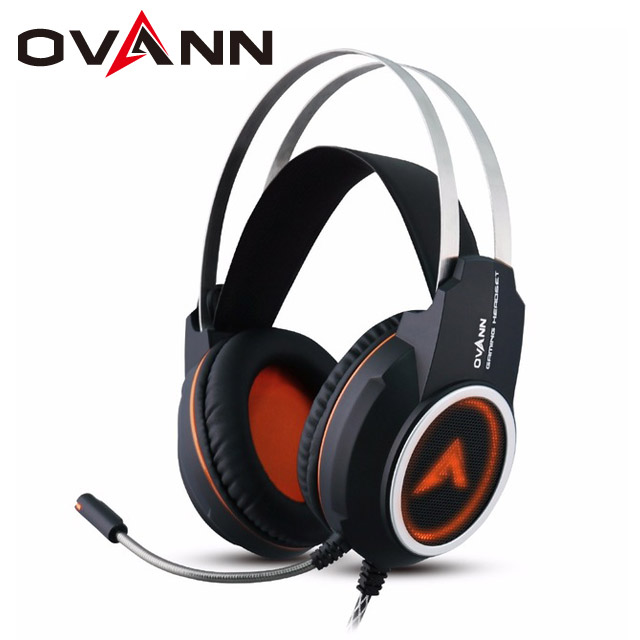 Ovann X80 Computer Gaming Headphones Over Ear Game Headset Shock Deep Bass HD Surround With Mic Breathing LED Light for PC Gamer