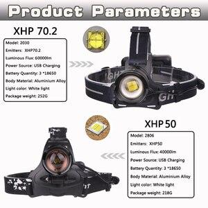 Image 3 - 60000 XHP70.2 Potente Led Testa della lampada Ricaricabile Ha Condotto il Faro XHP50 T6 testa della torcia della torcia elettrica 18650 batteria impermeabile del faro